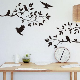 Harga Ai Home Tree and Bird Wall Stickers Art Decals Wallpaper