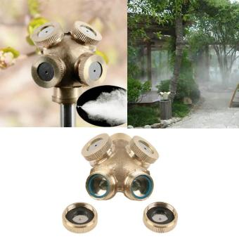 Harga New Brass Spray Misting Nozzle Garden Sprinklers Fitting Hose Water Connector 4 Hole - intl