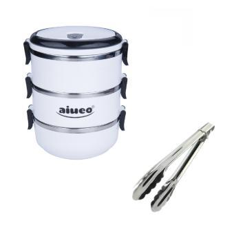 AIUEO Eco Lunch Box Stainless Steel Rantang 3 Susun Glossy Bundling Penjepit Makanan Serbaguna Stainless Steel