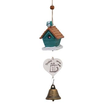 Harga LALANG Bird House Wind Chime Aeolian Bell Home Hanging Decoration Gift (Green)