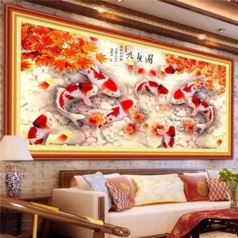 Harga Onemarkets DIY 5D Diamond Painting Lukisan Kerajinan 9koi Maplewood 80x35cm Flash