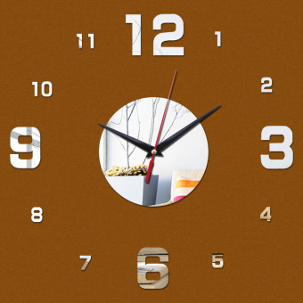 Harga Amart DIY Home Office Room Decor Clock Sticker Mute Wall Clock Decor Wall Sticker(Silver) - intl