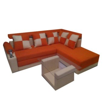 Harga Furniture Unik L Elbow Sofa Bed Set - Orange