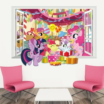 Harga Yika Little Pony 3D Window View Wall Sticker - intl