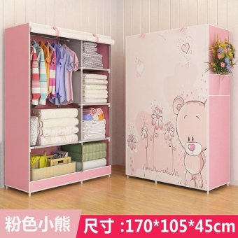 Harga One Piece Roll Up Curtain Clothes Design Wardrobe Home Furniture (style: Bear, Color: Pink) - intl