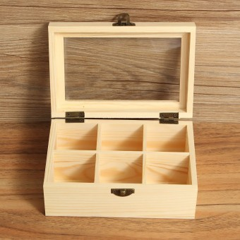 Harga 6 Compartments Wooden Tea Bag Jewelry Organizer Chest Storage Box Glass Top Log- intl