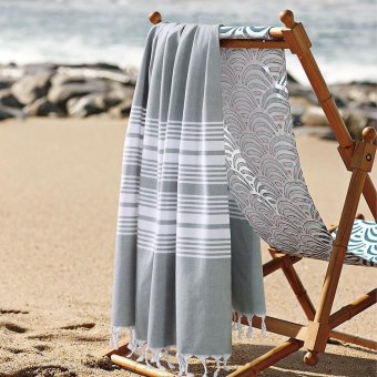 Harga Shawl scarf cotton beach towel couple shawl scarf European and American wind stripes, light gray, 100 * 180CM - intl