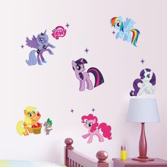 Harga Kid Wall Stickers My Little Pony 6 Ponies Removal Wall Sticker Girls Sticker for Kids Room Factory Sales Directly - intl