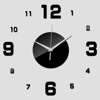 Harga Amart DIY Home Office Room Decor Clock Sticker Mute Wall Clock Decor Wall Sticker(Black) - intl