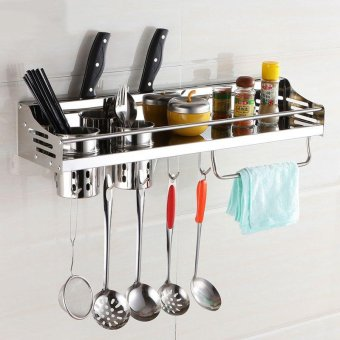 Harga Stainless Steel Kitchen Shelf Seasoning Rack Kitchen Wall Hanging Storage Turret Supplies Appliances - intl