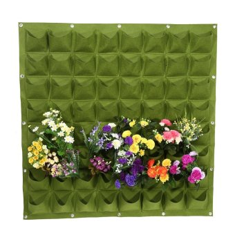 Harga 64 Pockets Outdoor Garden Vertical Wall Hanging Planter (Green) - intl