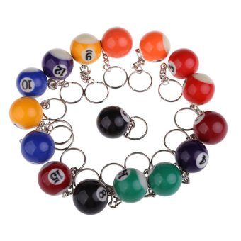 Harga A Set of 16pcs Billiards Pool Eight Ball 32mm Model Keychain Key Rings Key Chains NO.1 to NO.15