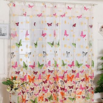 Harga 200cm x100cm Butterfly Print Sheer Window Curtains for Room Divider Living Room