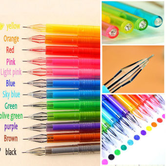 Harga Okdeals 12 buah warna Candy Diamond pena Gel perlengkapan sekolah gambar mewarnai pena hadiah pelajar