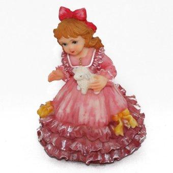 OHOME Pajangan 3D Vintage Keramik Poly Stone Girl Dress in Pink Hadiah Kado Decor - EV