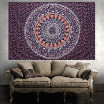 India Hippie Wall Hanging Tapestry Bohemian Seprai Art Dorm Throw Mat Cover- Intl