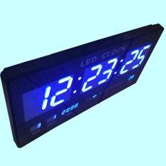 Jam Dinding Digital Ukuran Sedang 15x35 CM / LED Biru