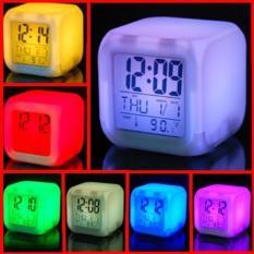 jam waker Digital Alarm Clock 7 Warna LED dan pengukur suhu