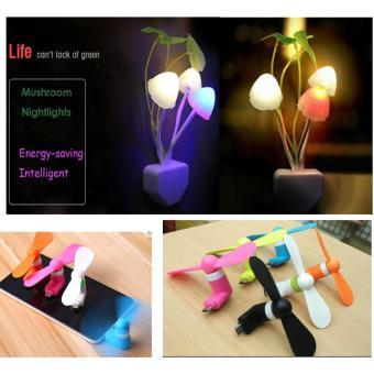 JBS Lampu Tidur LED Sensor Cahaya Lampu Jamur Lampu avatar + MiniFan USB - Kipas Angin