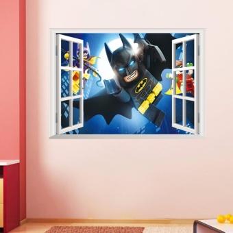 Jingle Batman Superman 3D Wall Sticker Removable Decals Kids Nursery Dekorasi Kamar-Internasional