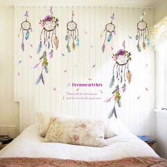 Gemerincing Bulu Dreamcatcher Windbell Wall Sticker (Aneka Warna)