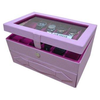 Detail Gambar Jogja Craft Baby Pink Watch Box Organizer - Kotak Tempat Jam Tangan Susun Isi 24 Terbaru