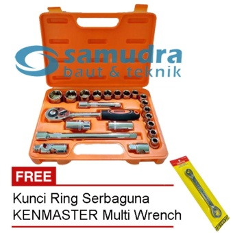 KENMASTER KUNCI SOCK SET 22 PCS & KUNCI RING PAS TOOLKIT SNAP NGRIP
