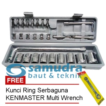 KENMASTER KUNCI SOCK SET 27 PCS & KUNCI RING PAS TOOLKIT SNAP NGRIP
