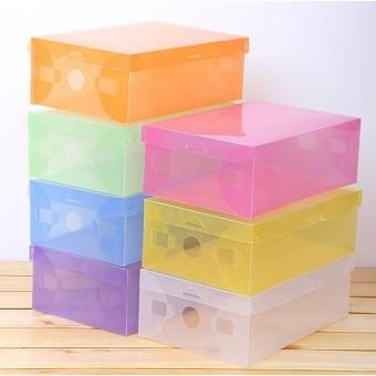 [hhm001] box / kotak sepatu plastik transparan warna warni u/ orangdewasa-orange