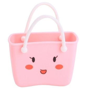 Detail Gambar Produk LALANG Kitchen Sink Bathroom PVC Hanging Basket Strainer StorageBag (Pink) Terbaru