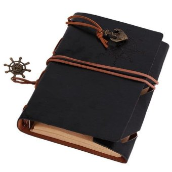 LALANG Retro Loose-leaf Blank Pages String Notebook Journal Diary S(Black)
