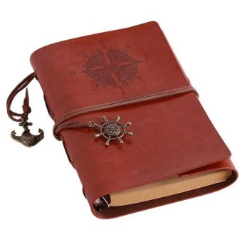 LALANG Retro Loose-leaf Blank Pages String Notebook Journal Diary S(Light Brown)