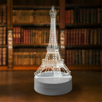 Lampu 3D LED Transparan Design Eifeel Tower - Putih