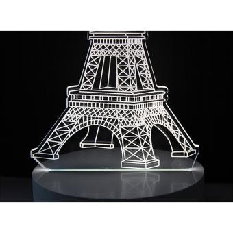 Lampu 3D LED Transparan Design Eifeel Tower - Putih