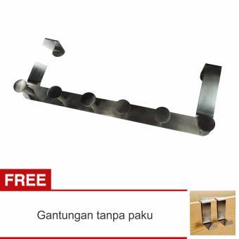 Lanjarjaya Gantungan Pintu Stainless Steel Untuk Baju, Celana, Handuk, DLL Tanpa Paku +