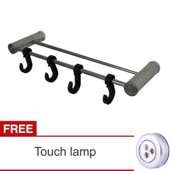 Lanjarjaya Stainless Steel Dinding Mount Pemegang Gantungan HandukBar dan kait Di Kamar Mandi + Touchlamp · >>>>
