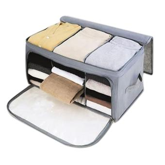 Leegoal Home Storage Bamboo Charcoal Fiber Clothing Organizer Bags Zipper Bag Case Container Organizers Container Box,Gray - intl