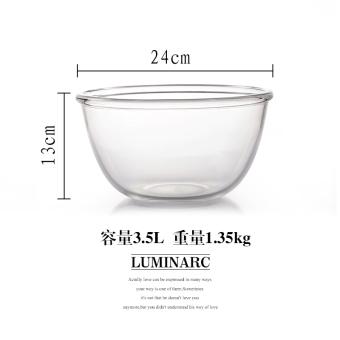 Luminarc transparan kebesaran tahan panas dipanggang pengocok telur baja gelas mangkok