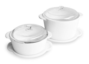 Luminarc Vitroline Plain White Casserole 6pcs Set 1.5L+3L - Putih