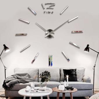 Besar Mewah Jam Dinding Rumah & Kantor DIY 3D Dekorasi Rumah Stiker Cermin Perak