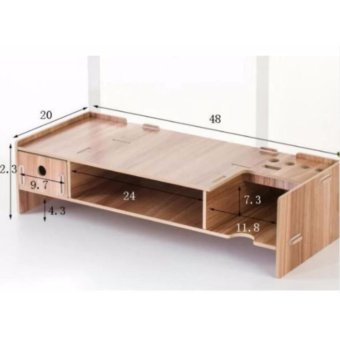 Meja Monitor Komputer / Desktop Organizer - Wood Cream