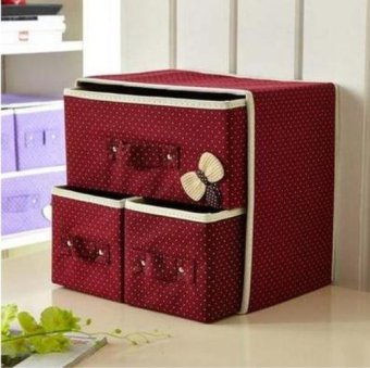 Harga Multi Color Bowknot Storage Box,Make Up Organizer Large CapacityClothing Container Desk Organizer - intl