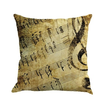 Musical Note Painting Linen Cushion Cover Throw Pillow Case SofaHome Decor B - intl