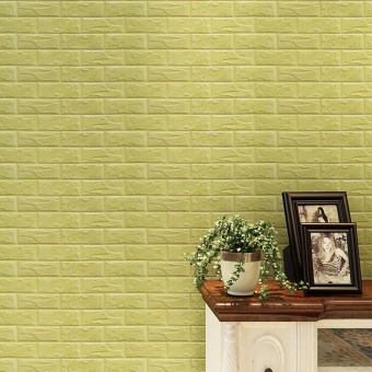 New PE Foam 3D Wallpaper DIY Wall Stickers Wall Decor EmbossedBrick Stone Green - intl
