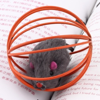 Oh asyik bermain main mainan hadiah palsu tikus di Kandang Kucing untuk kucing pet bola
