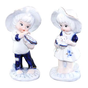OHOME Patung Porcelain EK-P-1543 Boy Girl Set 2 PCS Pajangan Rumah Home