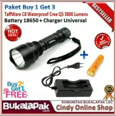 CREE XML T6 LED Lampu Obor Senter Diperbesar + 2 X 26650 Baterai 3800 LumenIDR265378. Rp 295.000
