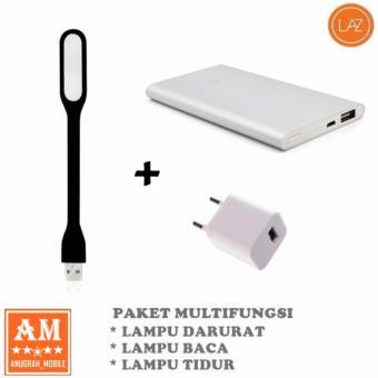 harga Paket Multifungsi : Lampu LED Sikat USB Fleksibel Multi Guna +Powerbank Slim + Adapter Charger Lazada.co.id