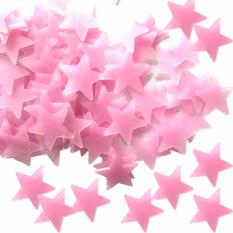 PAlight 100 buah bercahaya bersinar Bintang wall stiker (Merah)