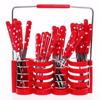Peralatan Makan Set Sendok Garpu Pisau Stainless Steel Motif Polkadot 24 Pcs - Merah